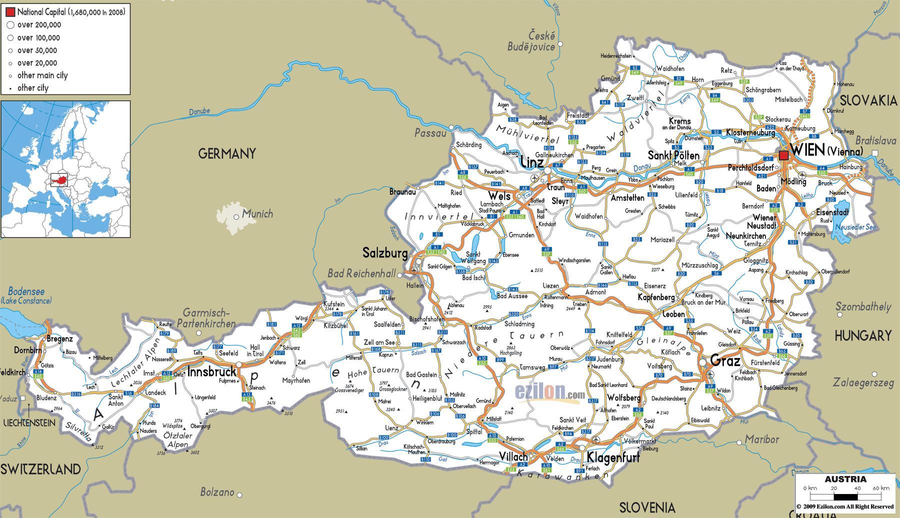 Ausztria Varosok Terkep Reszletes Terkep Az Osztrak Varosok