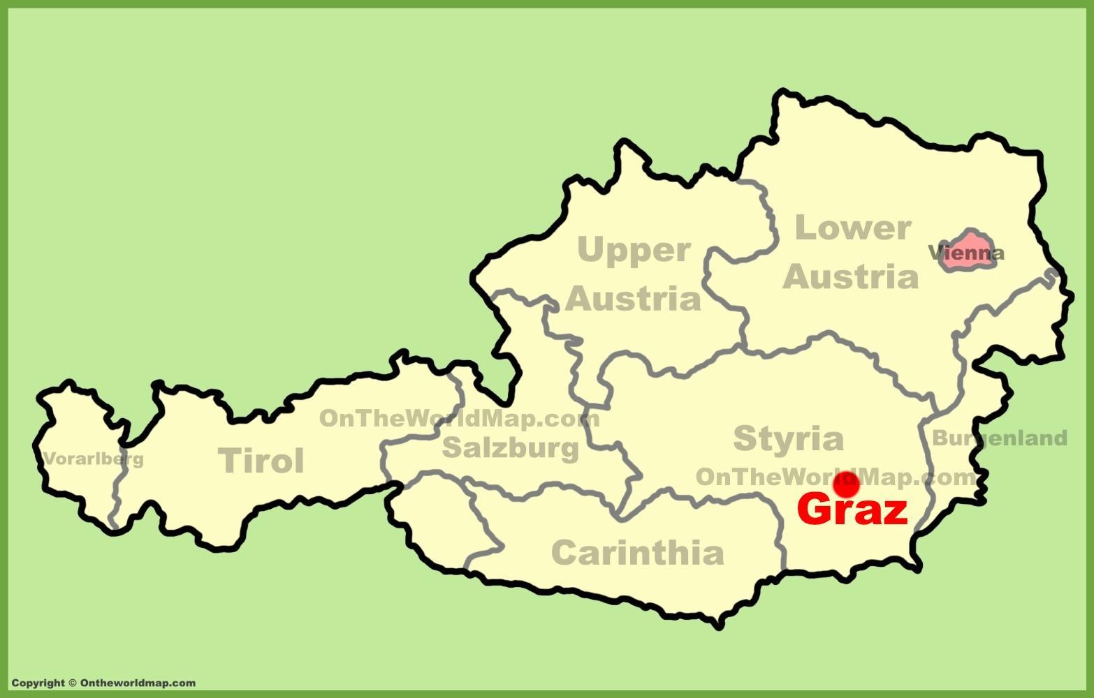 Graz Ausztria Terkep Terkep Graz Ausztria Nyugat Europaban