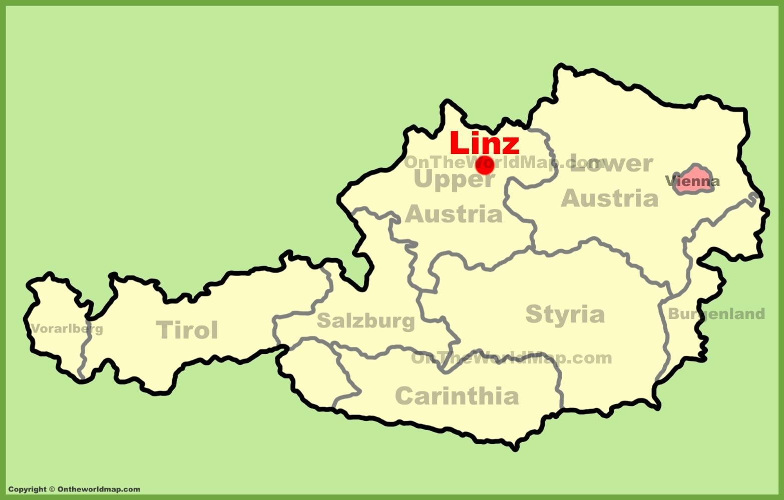Linz Ausztria Terkep Terkep Linz Ausztria Nyugat Europaban