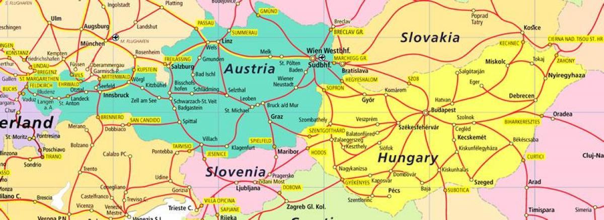 Ausztria Vasuti Terkep Ausztria Vasuti Terkepe Nyugat Europaban